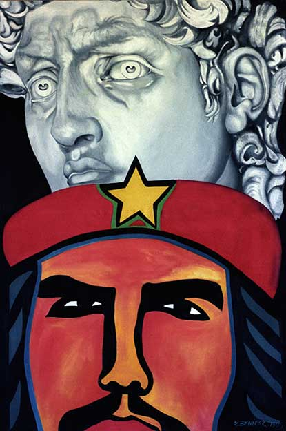 El Ché, la Estrella y el Hombre Nuevo. Pintura, Óleo sobre Lienzo (Arte Cubano) Cuban Painting Art-Politics, Che, the Star and the New Man (Guantanamera) Utopia Dogma Re-in-Volución in-Migration balsero rafters' crisis. Contemporary Art Oil-Canvas Arte-Politica Migration Crisis de los Balseros. Arte Contemporáneo