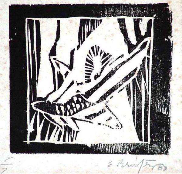 Ernesto Benítez Naturaleza Muerta I, Contemporary Art Xylography (Woodcutt) Serial Graphic ArtWork. Artistic Engraving (Gravado Artístico Xilografía Obra Gráfica Seriada) Paulita Concepción. reproducción en serie)