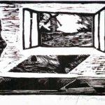 Landscape-I (Wood Engraving) Woodcut (Limited Edition) Paisaje-I, Contemporary Art Xylography (Woodcutt) Serial Graphic ArtWork. Artistic Engraving (Gravado Artístico Xilografía Obra Gráfica Seriada) Paulita Concepción. reproducción en serie)