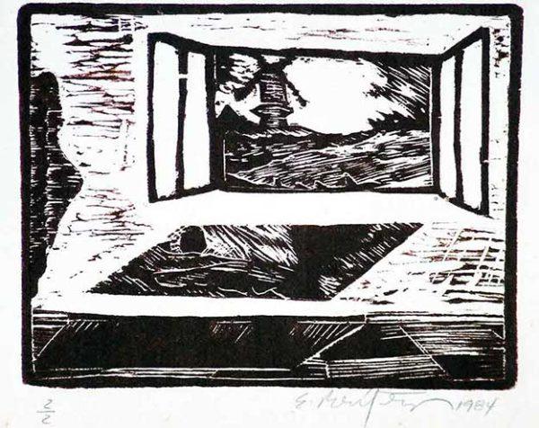 Ernesto Benítez Landscape-I (Wood Engraving) Woodcut (Limited Edition) Paisaje-I, Contemporary Art Xylography (Woodcutt) Serial Graphic ArtWork. Artistic Engraving (Gravado Artístico Xilografía Obra Gráfica Seriada) Paulita Concepción. reproducción en serie)