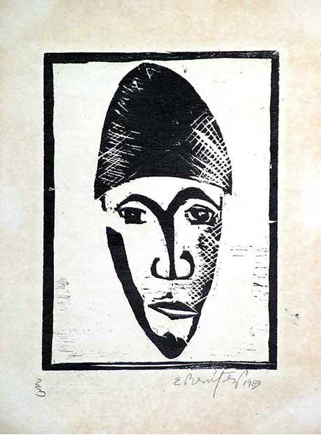 Mask-African Xylography (Wood Engraving) Woodcut (Limited Edition) Máscara, Contemporary Art Xylography (Woodcutt) Serial Graphic ArtWork. Artistic Engraving (Gravado Artístico Xilografía Obra Gráfica Seriada) Paulita Concepción. reproducción en serie