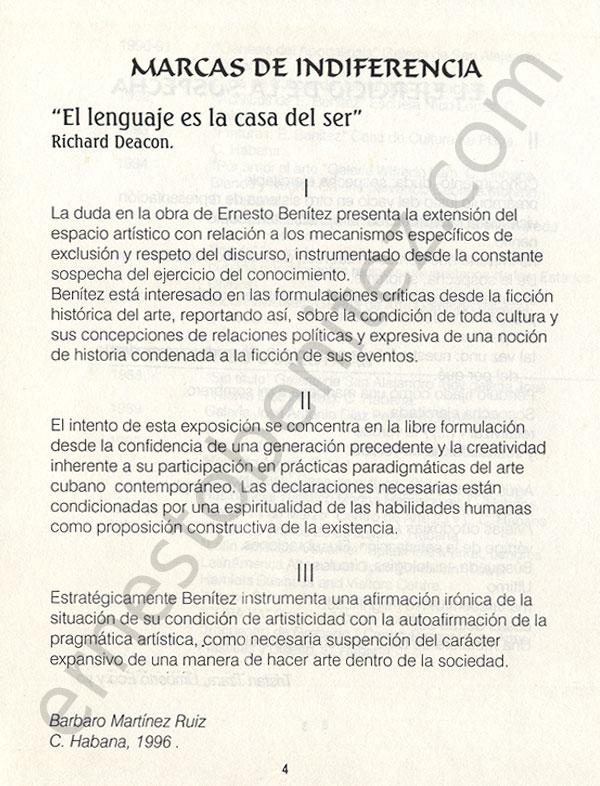 Marcas de Indiferencia, de Bárbaro Martínez Ruiz (El Ejercicio de la Sospecha)