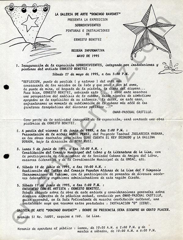 Nota de Prensa Exposición Sobrevivientes Galería Domingo Ravenet, La Lisa