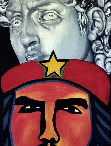 Ché, Estrella y Hombre Nuevo. Pintura, Óleo sobre Lienzo (Arte Cubano) Artes Visuales, Che, the Star and the New Man, Painting, Oil on Canvas (Cuban Art)